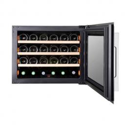 Pevino PI24S-S Wine Fridge - 24 bottle - Single zone wine cooler - 550mm Wide - Black/stainless steel - Integrated - win