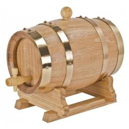 5 liter French oak wine barrel with brass hoops - winestorageuk