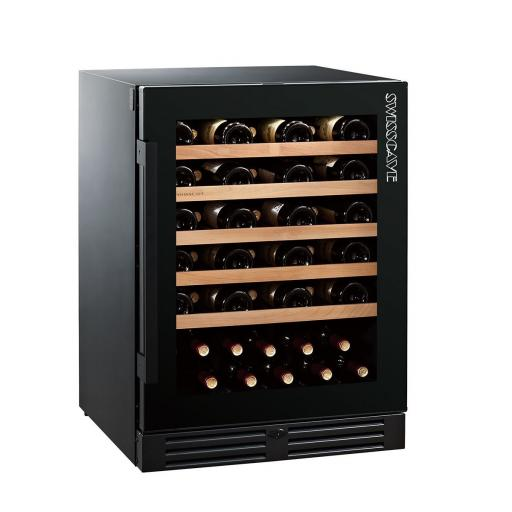 Swisscave WLB-160F - Black Edition Single Zone Wine Cooler / Wine Fridge (47 - 55 BOT) - 595mm Wide