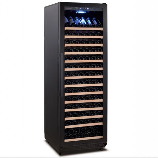 Swisscave WLB-450FL-HU - Black Edition - Dual Zone Wine Cooler / Wine Fridge with Ambient Furnishing (158-200 BOT) with Active Air Humidification Management