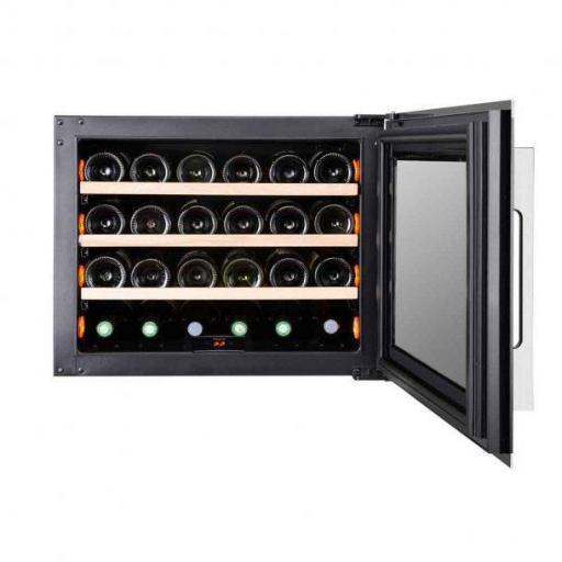 Pevino PI24S-S Wine Fridge - 24 bottle - Single zone wine cooler - 550mm Wide - Black/stainless steel - Integrated