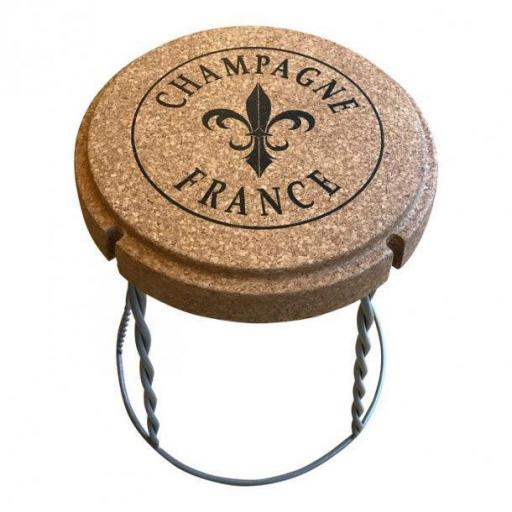 Champagne cork table/stool in cork and metal