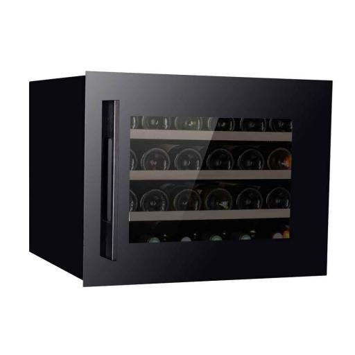 Pevino PI24S-B Wine Fridge - 24 bottles - Single zone Integrated wine cooler - 550mm Wide - Black glass front