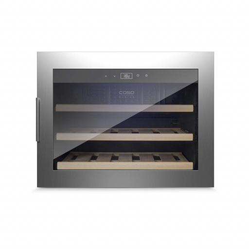 CASO WineSafe 18 EB Inox 629- Integrated Single Zone Wine Cooler / Wine Fridge - 18 bottles - 590mm Wide
