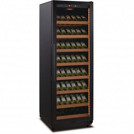 Swisscave WLB-450FLD - Black Edition - Single Zone Wine Cooler / Wine Fridge with Gastro Furnishing (139 - 220 BOT) - 600mm Wide