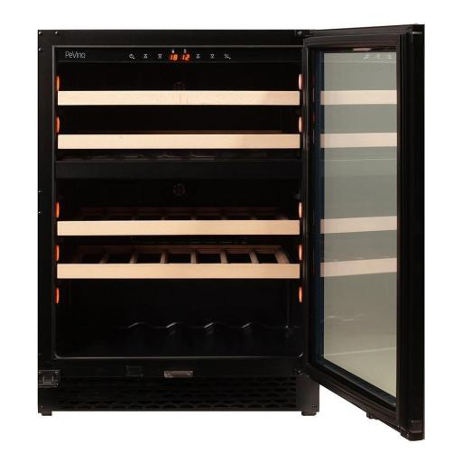 Pevino PNG46D-HHB Wine Fridge - 39 bottle - Built In - 2 Zone Wine cooler - 595mm Wide - Black