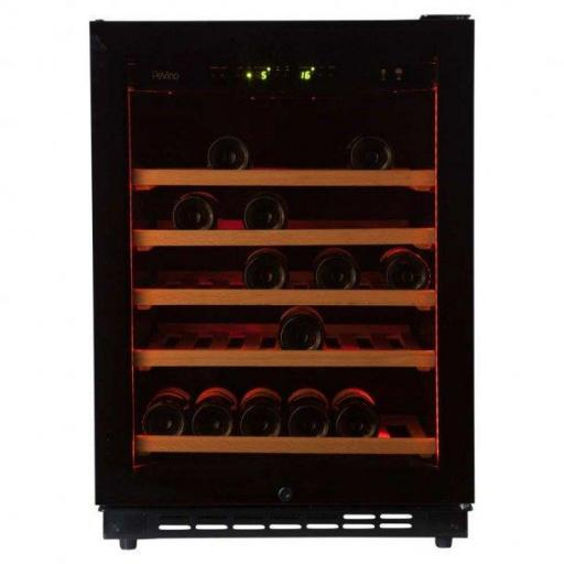 Pevino EVO PE46S-HHBN - 46 bottle - Single zone wine cooler - Black glass front