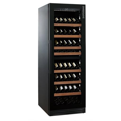 Swisscave WLB-460DFLD - Black Edition Dual Zone Wine Cooler / Wine Fridge with Gastro Furnishing (124-210 BOT) - 595mm W