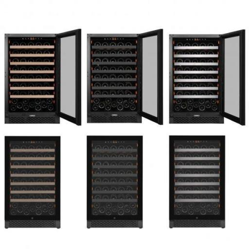 Pevino PNG88S-HHB Wine Fridge - 95 bottles - Built In - 1 Zone Wine Cooler - 595mm Wide - Black - winestorageuk