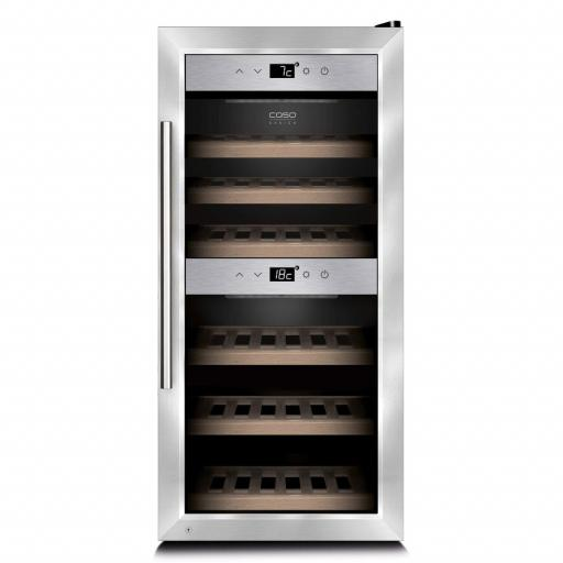 CASO WineComfort 24 - Freestanding Dual Zone Wine Cooler / Wine Fridge - 24 bottles - 395mm Wide